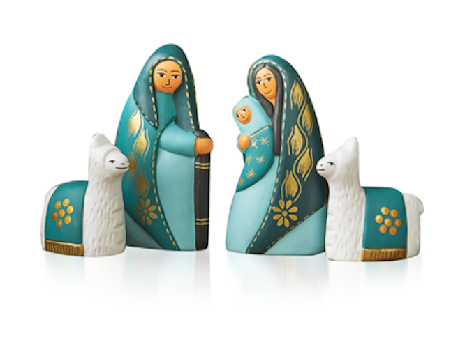 Tranquil Teal Nativity (set of 4)