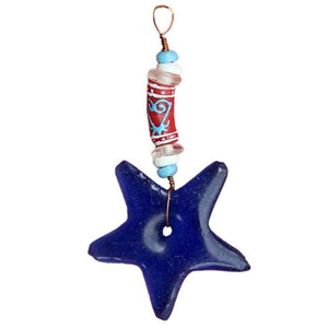 Adinkra Star Ornament - Sankofa Blue