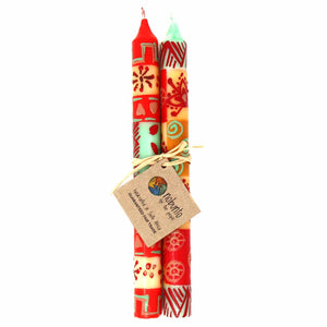 Tall Hand Painted Candles - Owoduni Design (set of 2) - Ecotienda La Chiwi