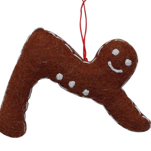 Felt Ornament - Gingerbread Yogi on Downward Facing Dog Pose