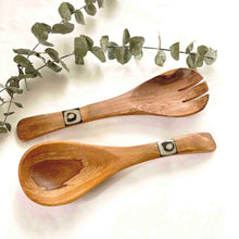 Olive Wood Salad Serving Set - Small with Batik Inlay