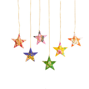 Recycled Sari Star ornament - Ecotienda La Chiwi