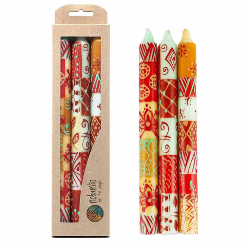 Tall Hand Painted Candles - Owoduni Design (box of 3) - Ecotienda La Chiwi