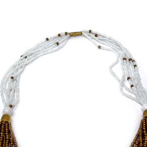Multistrand Maasai Necklace - White and Gold