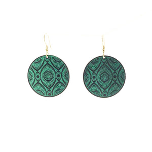Teal Disc brass earrings