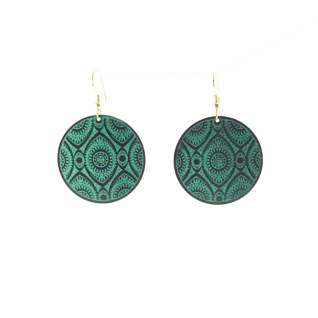 Teal Disc brass earrings - Ecotienda La Chiwi