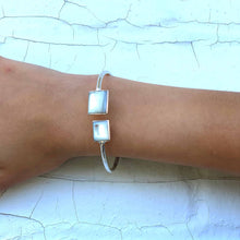 Silver plated Cuff Bracelet - Mother of Pearl Squares