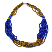 Multistrand Maasai Necklace - Blue and Gold
