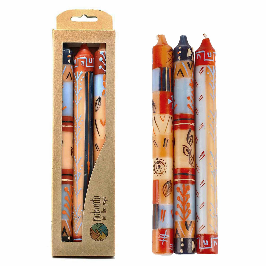Tall Hand Painted Candles - Uzushi Design (box of 3) - Ecotienda La Chiwi