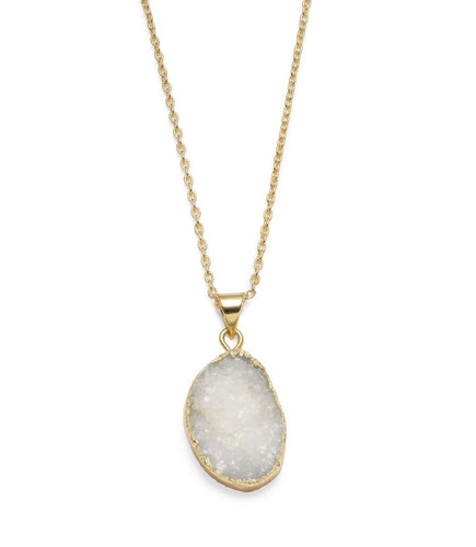 Rishima Druzy Drop Necklace - White - Ecotienda La Chiwi