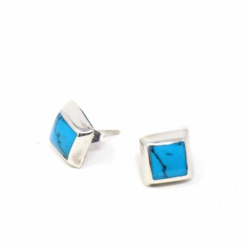 Silver Stud Earrings - Turquoise Square