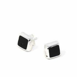 Silver Stud Earrings - Black Square