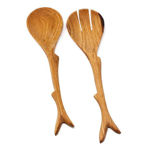 Olive Wood Salad Serving Set - Twig Handles - Ecotienda La Chiwi