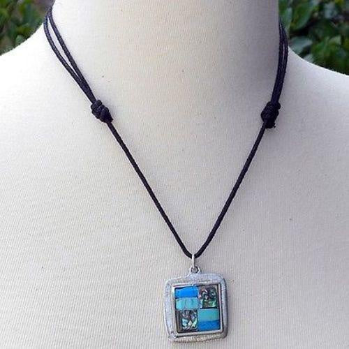 Alpaca Silver -Turquoise & Abalone Square Pendant Necklace