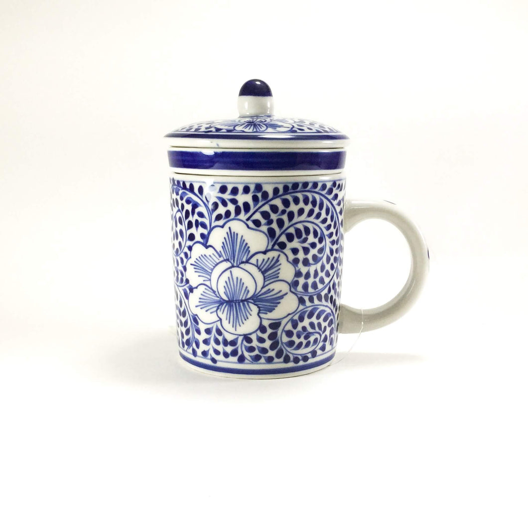 Tea Infuser mug - Blue and White