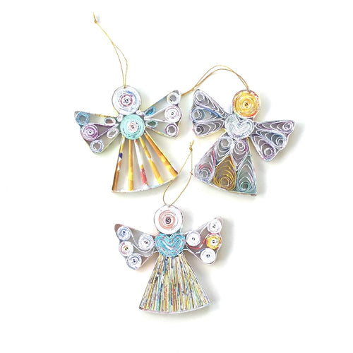 Recycled Paper Angel ornament - Ecotienda La Chiwi