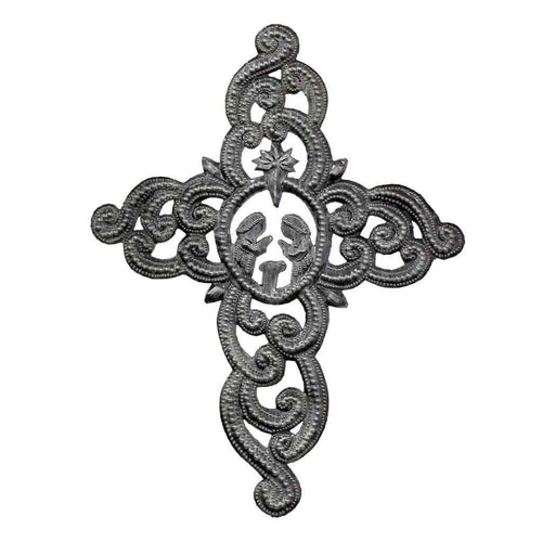 Metal Wall Art Ornate Cross with Nativity Scene