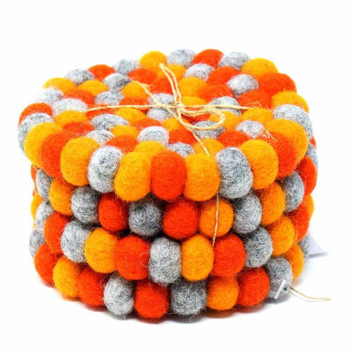 Round Felt Ball Coasters - Chakra Oranges (4-pack)