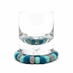 Round Felt Ball Coasters - Chakra Light Blues (4-pack)