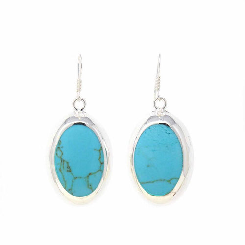 Silver plated Oval Earrings - Turquoise