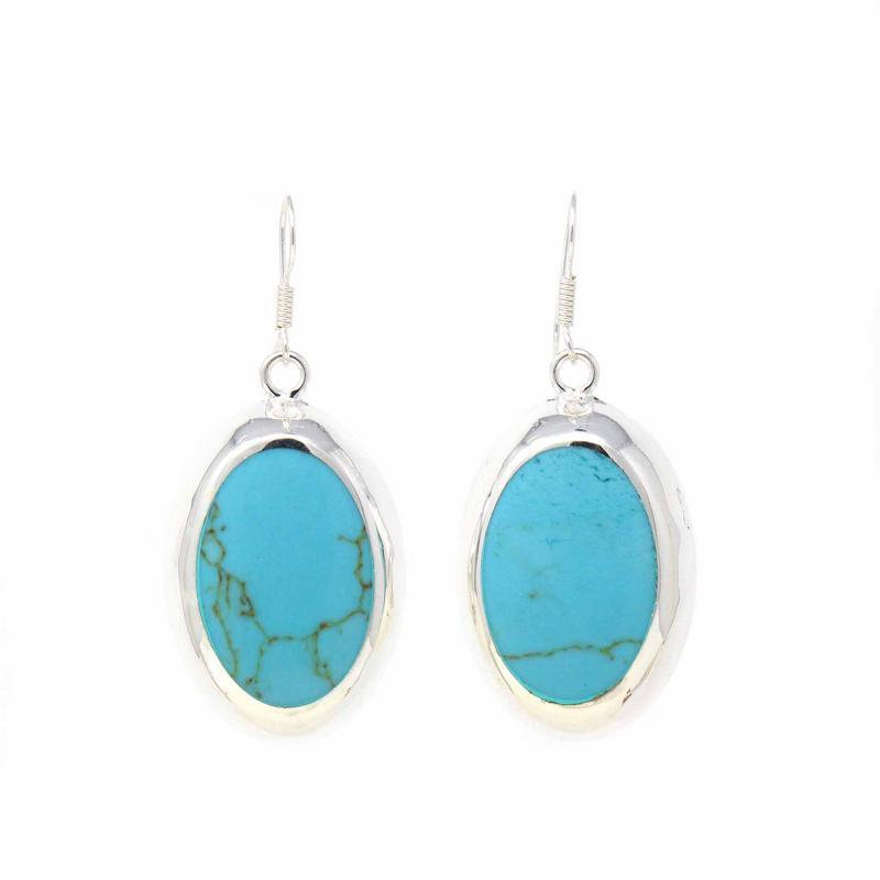 Silver Oval Earrings - Turquoise