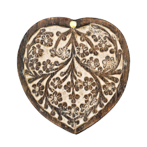 Antique Finish Wood Pivot Box - Heart - Ecotienda La Chiwi