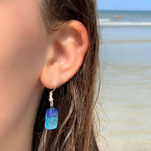 Small Glass Earrings - Blue Bubbles - Ecotienda La Chiwi