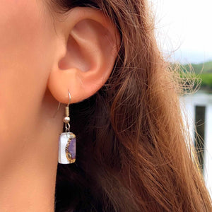 Small Glass Earrings - Coffee Bean - Ecotienda La Chiwi