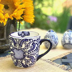 Rounded Mugs - Blue Flowers (set of 2) - Ecotienda La Chiwi