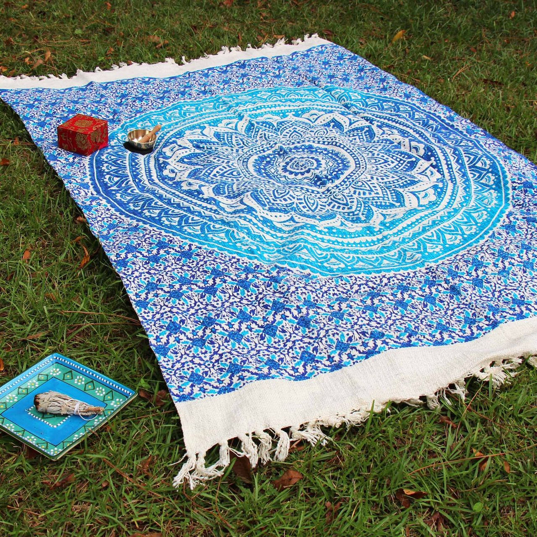 Mandala Throw - Blue - Ecotienda La Chiwi