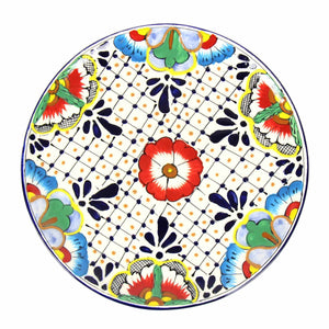Dinner Plates 11.8in - Dots & Flowers (Set of 2) - Ecotienda La Chiwi