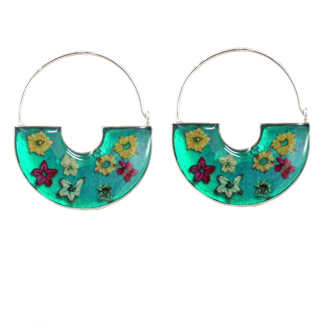 Alpaca silver Hoop Earrings - Flowers in Resin basket