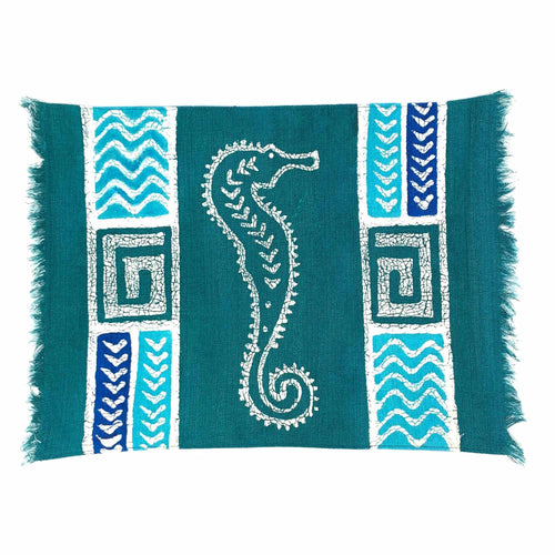 Hand-batiked Placemat - Blue Seahorse
