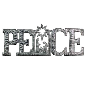Metal Wall Art Nativity Scene - PEACE