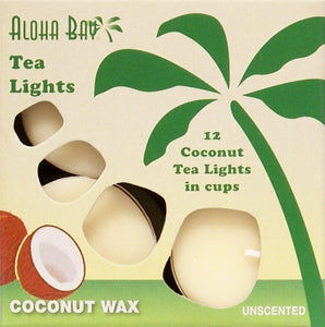 Unscented Coconut Wax Tea Lights - Cream (box of 12)