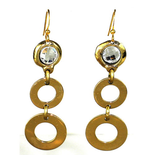 Crystal & Loops Brass Earrings - Ecotienda La Chiwi