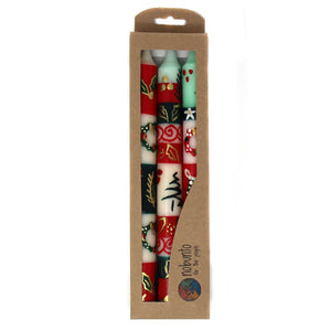 Hand-painted Tall Candles - Ukhisimui Design (box of 3)