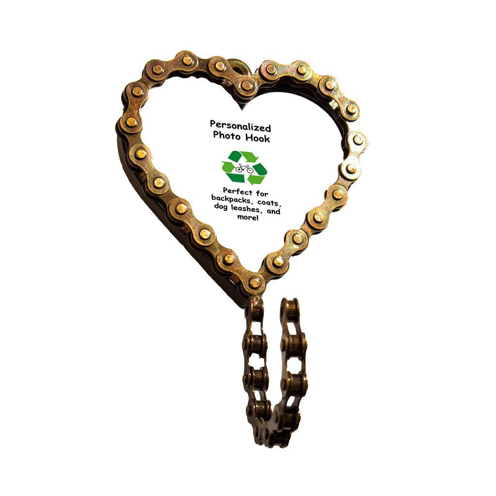 Bicycle Chain Picture Frame Hook - Heart