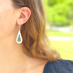 Alpaca Silver Teardrop Earrings - Abalone & Mother of Pearl
