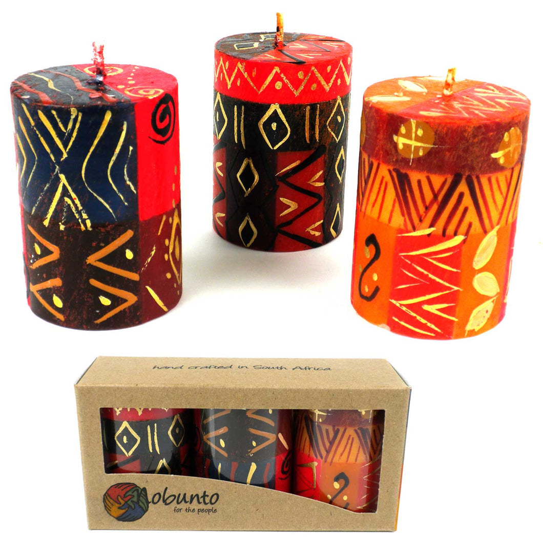 Hand-painted Candles - Bongazi Design (box of 3)