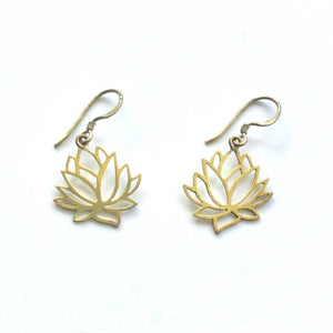 · Brass Cutout Earrings - Lotus Flower