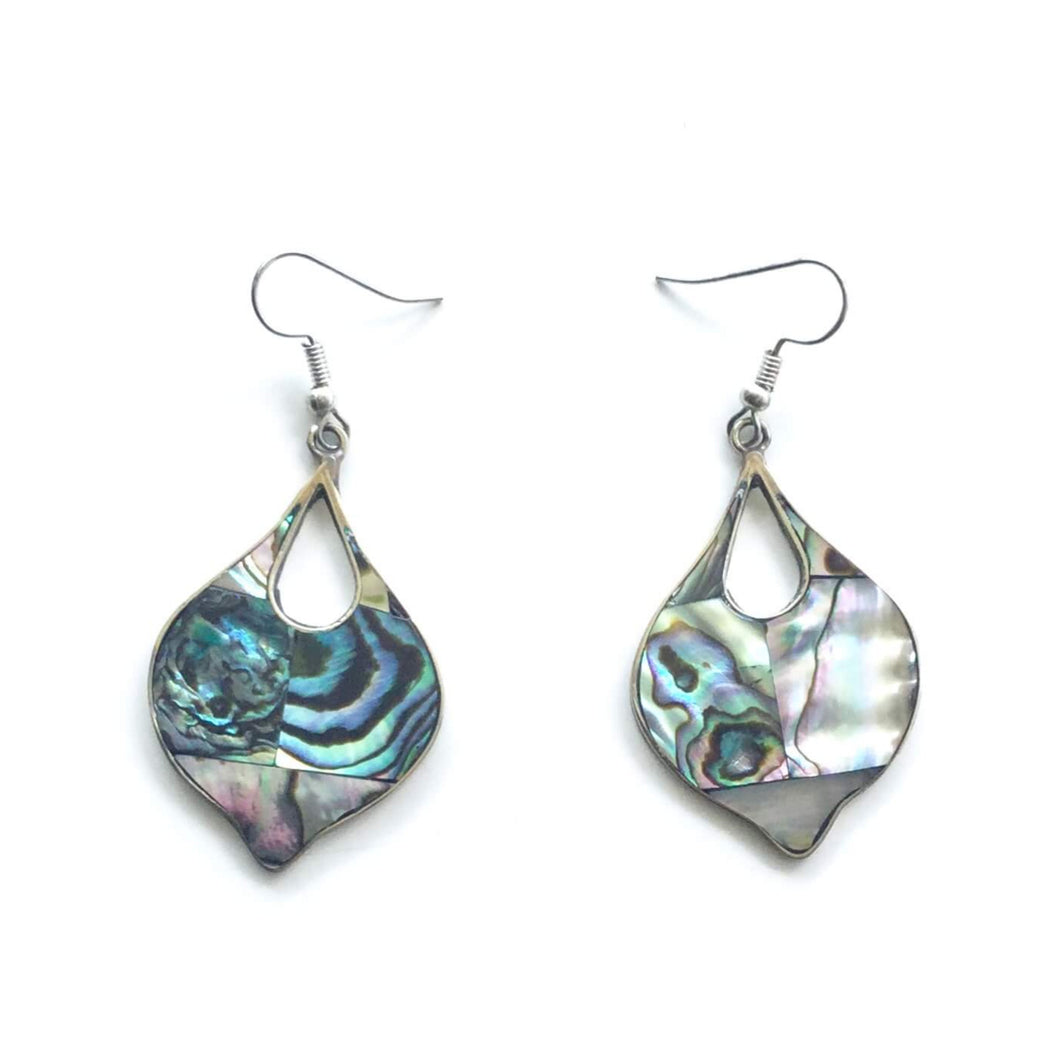 · Teardrop Earrings - Blue-green Abalone