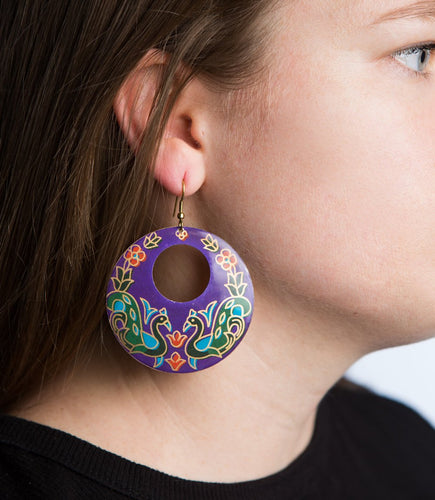 Peacock Garden Earrings - Ecotienda La Chiwi