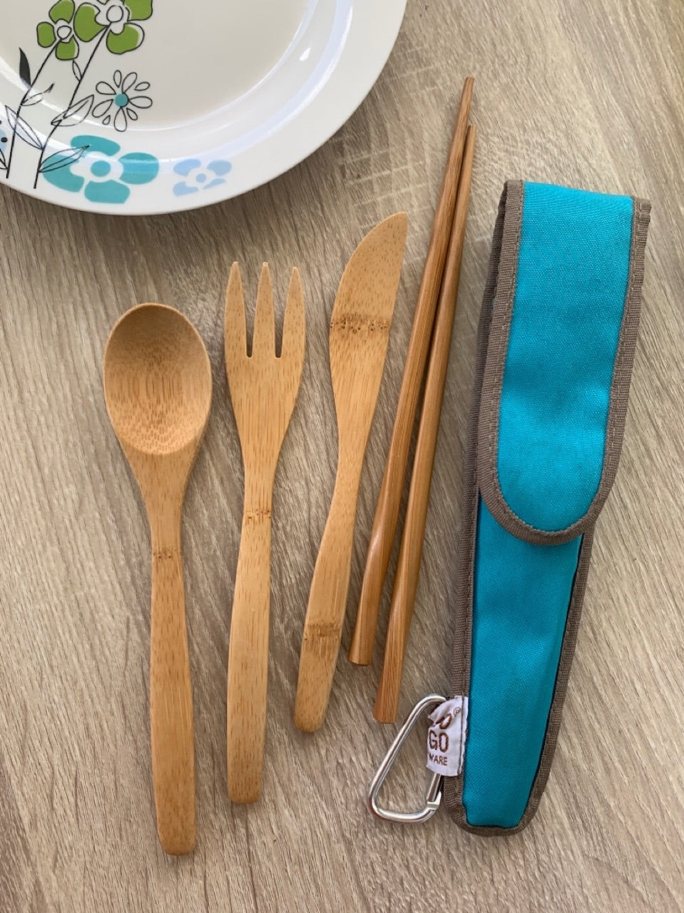 Reusable Bamboo Utensils Set with travel case - Ecotienda La Chiwi