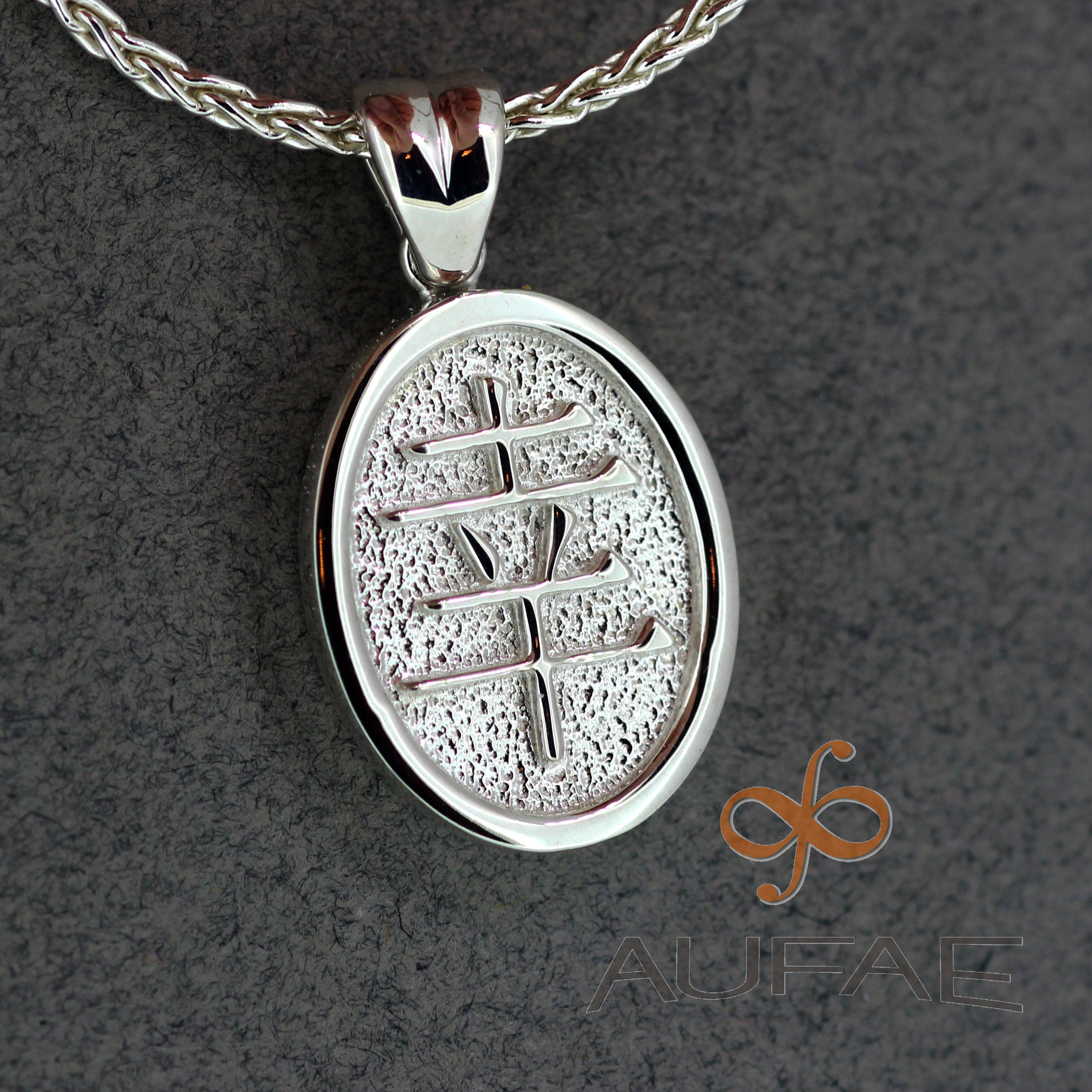 Aufae Xing Pendant In Sterling Silver Chinese Symbol For Lucky