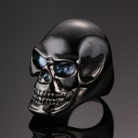 New Arrival Gothic Men's Punk Black Skull Ring - Motorcycle Made