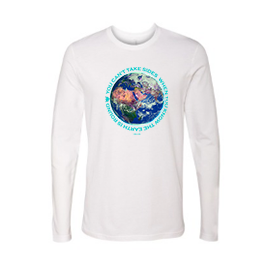 Men's White Long Sleeved fitted Aqua lettered