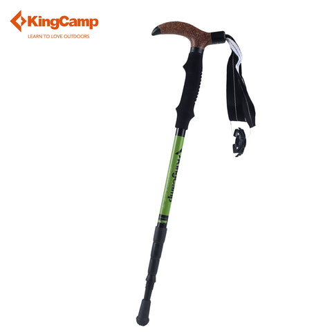 KingCamp 1pcs 4-section Cork T-handle Anti Shock Walking Stick Aluminum Hiking Walking Trekking Pole Telescopic Walking Canes