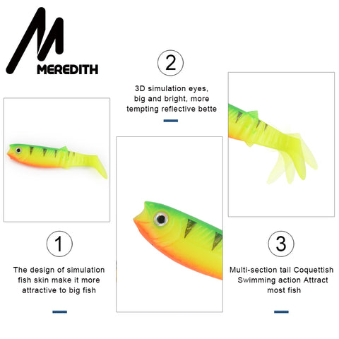 MEREDITH 5PCS 10.5g 10cm Lures Fishing Lures soft Fishing Baits Cannibal Soft Lures Shads Fishing Fish JX62-10
