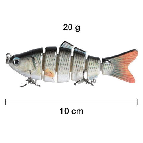 P-iscifun Fishing Tackle Store 6 Segments Lifelike Hard Lure With 2 Hooks